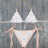 Crochet Jeweled Bikini in Nude/White