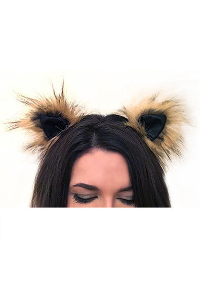 Faux fur clip on ears in Leather Blonde