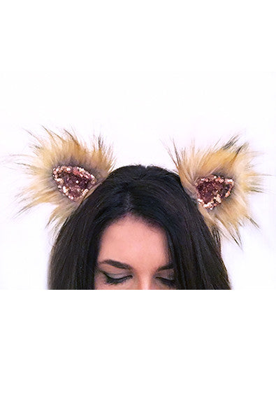 Faux fur clip on ears in Sparkle and Blonde