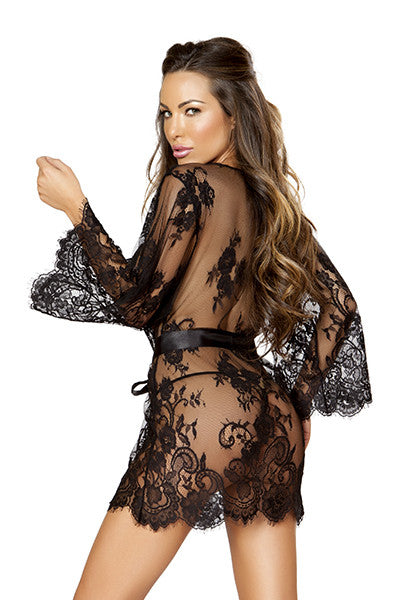 Lace Robe in Black