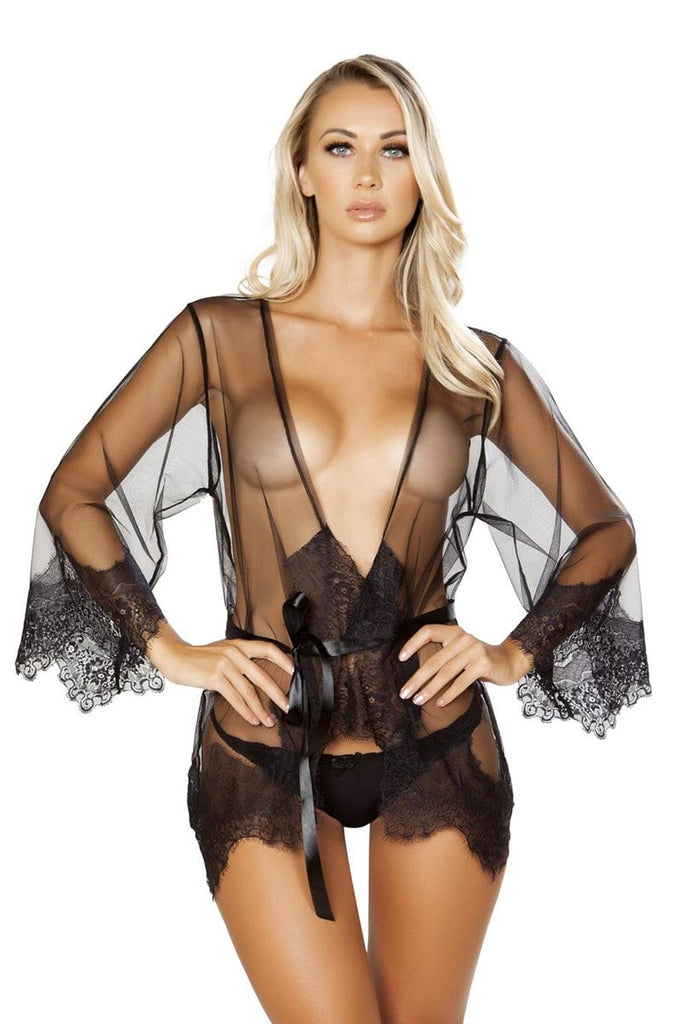 Sheer Robe in Black