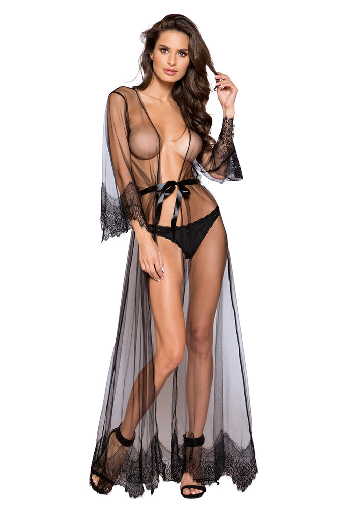 Sheer Maxi Robe in Black