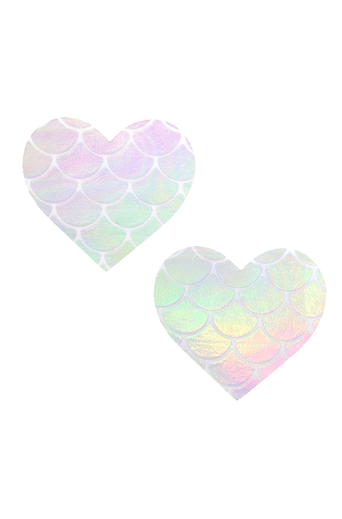 Mystical Mermaid Iridescent Holographic I Heart U Pasties