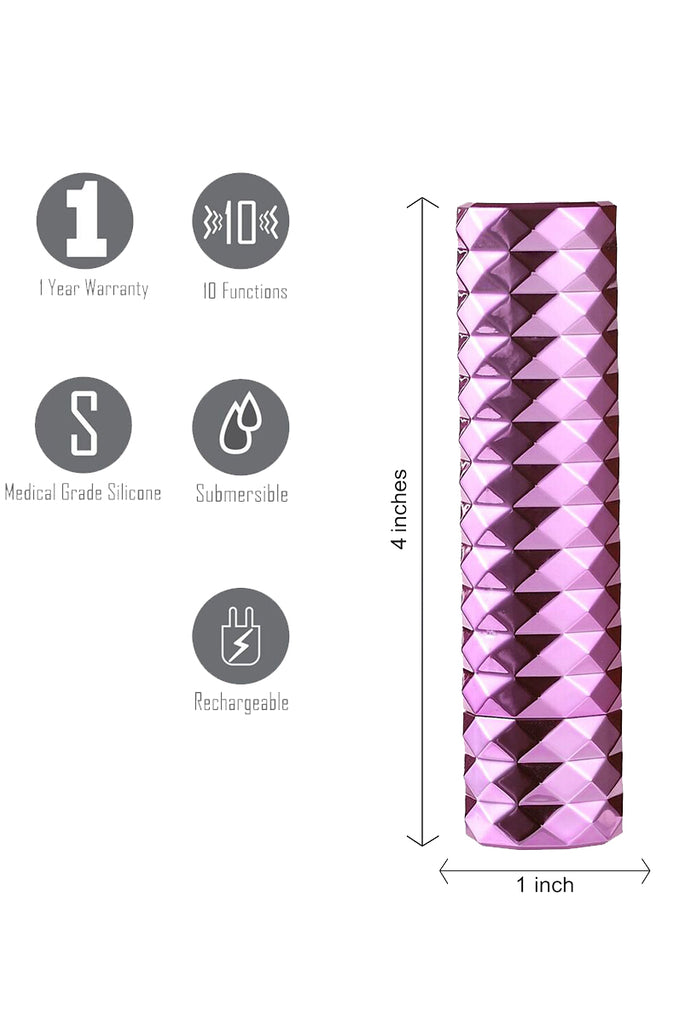 Roxie Crystal Gem Lipstick Vibrator in Pink