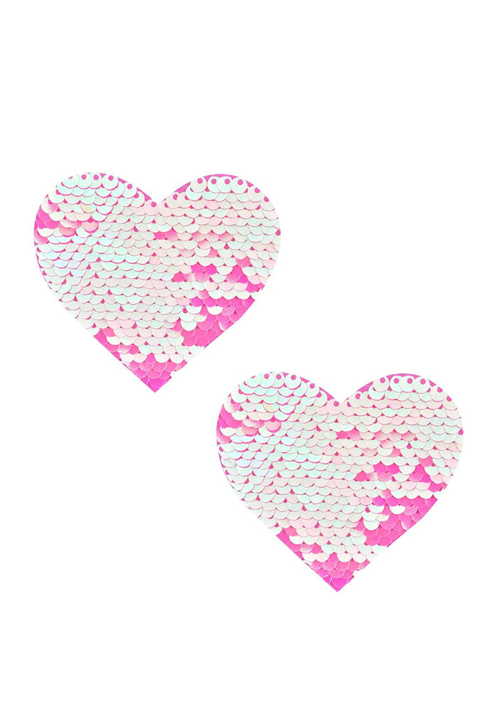Aurora Light Pink Flip Sequin I Heart U Nipztix Pasties