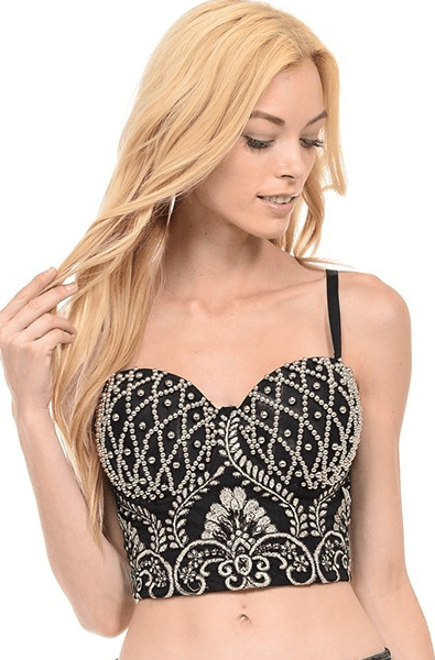 Pearl And Embroidery Bustier in Black