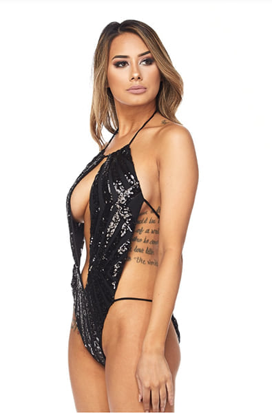 Luxx Sequin Bodysuit in Black