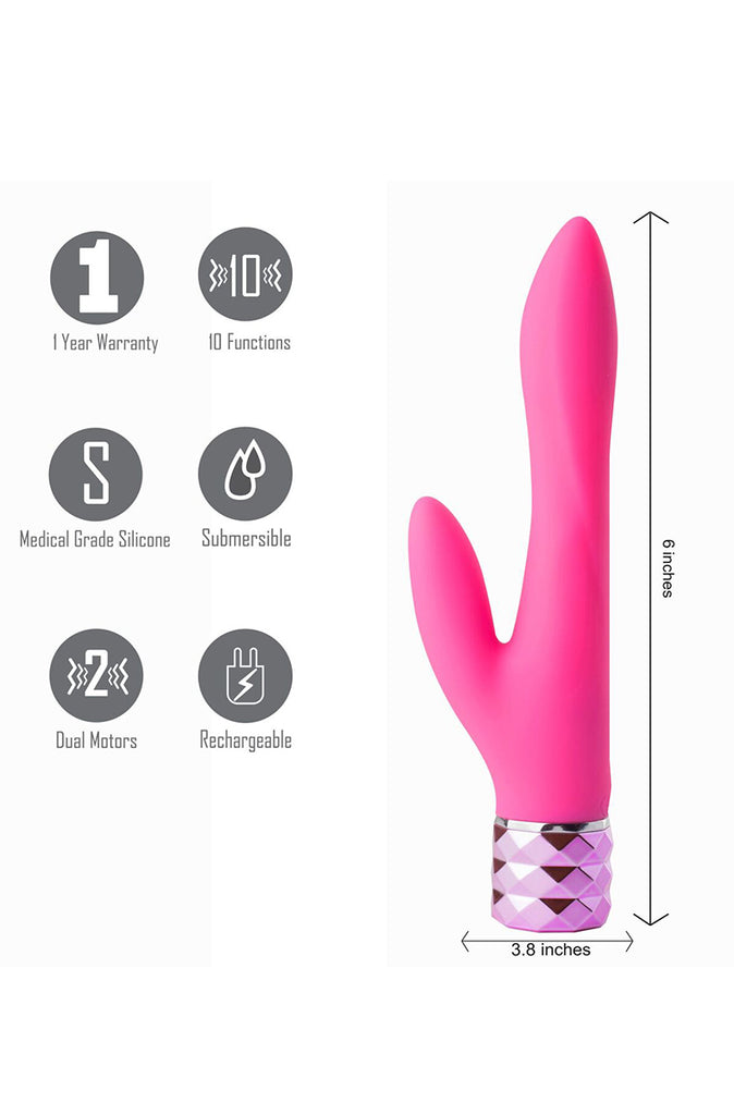 Victoria Silicone Dual Vibe in Neon Pink