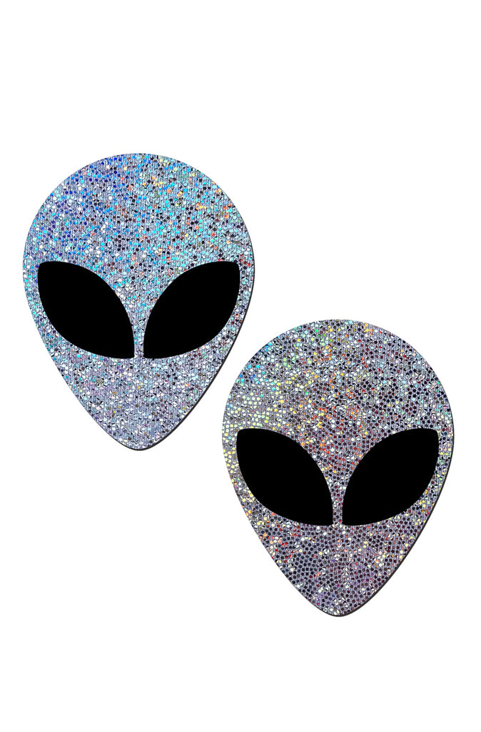 Silver Glitter Alien with Spacey Black Eyes Pasties