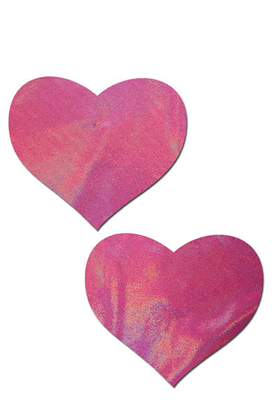 Holographic Bubblegum Pink Heart Pasties