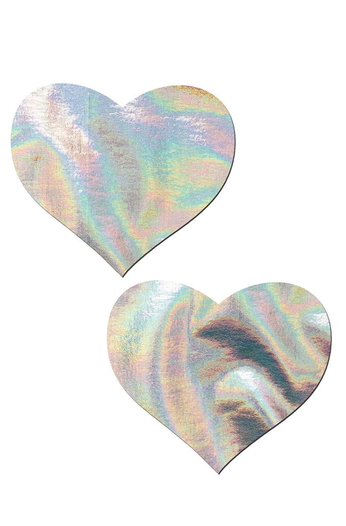 Love: Silver Holographic Heart Pasties
