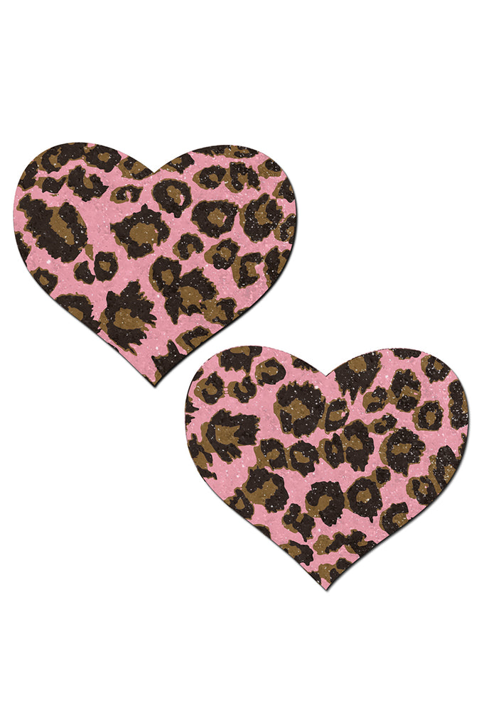 Pink Cheetah Heart Pasties