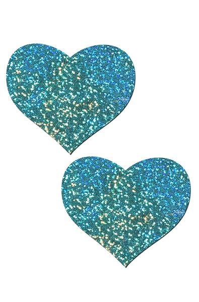 Liquid Twinkling Seafoam Heart Pasties