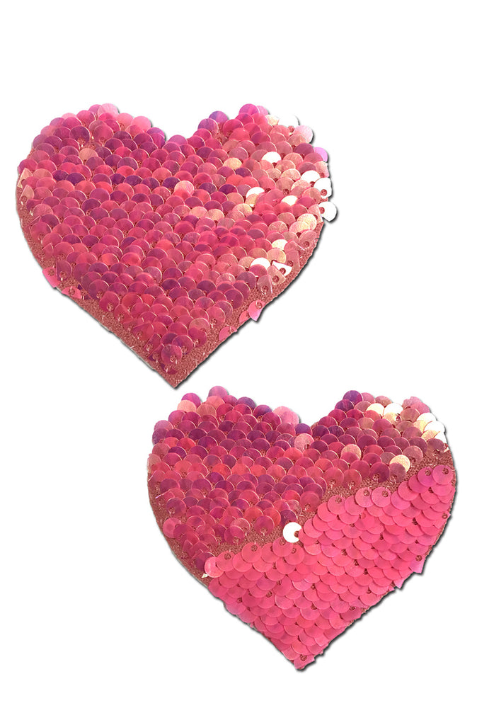 Hot Pink Color Changing Sequin Heart Pasties