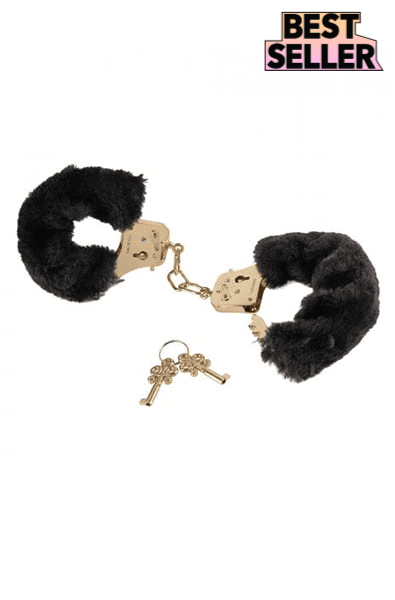 Deluxe Furry Cuffs in Black Gold