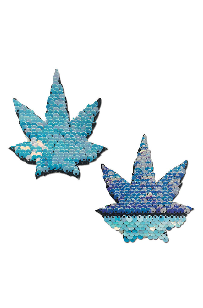 Unicorn Blue Pink Flip Sequin Pot Leaf Pasties