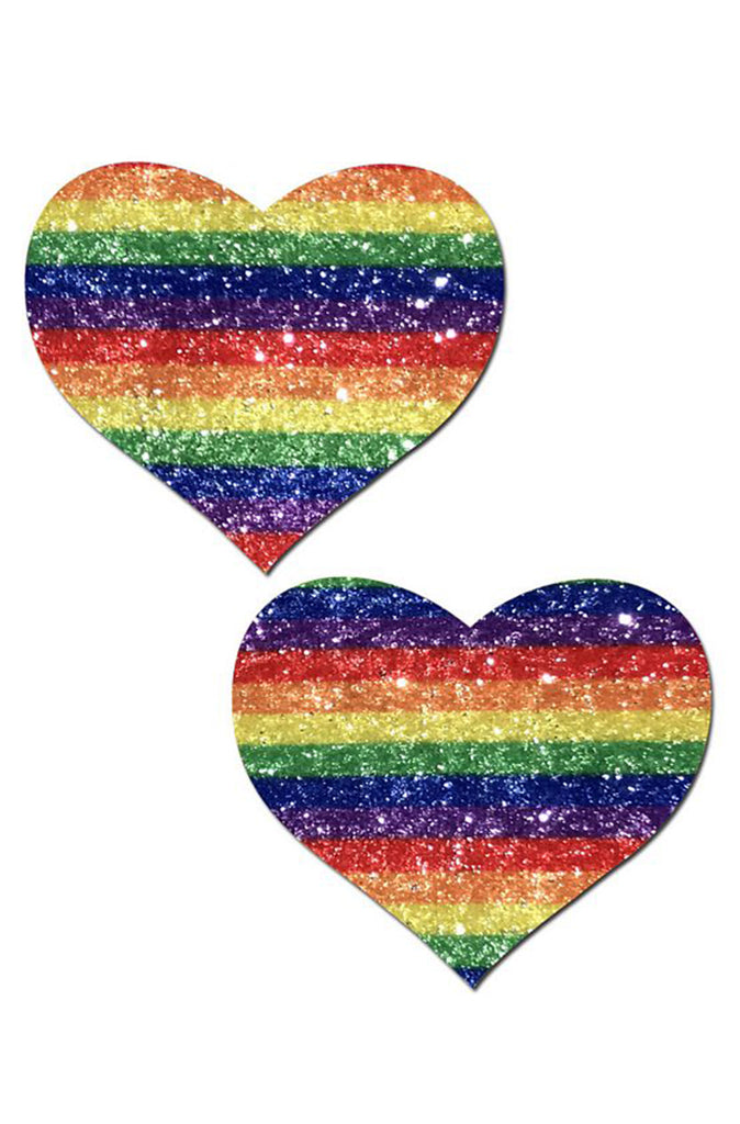 Glitter Rainbow Heart Pasties