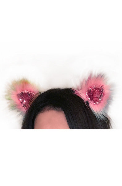 Faux fur clip on ears in Sparkle Sherbet