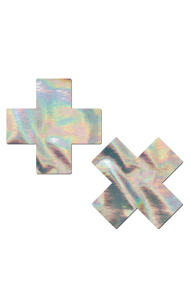 Plus X: Silver Holographic Cross Pasties