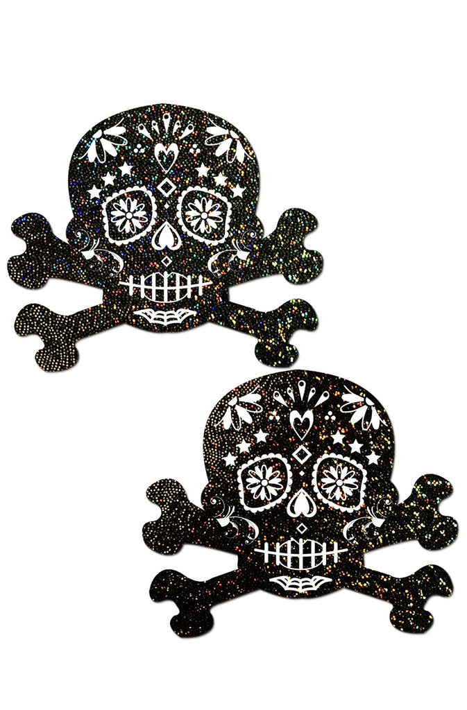 Black Glitter Candy Skull & Crossbones Pasties