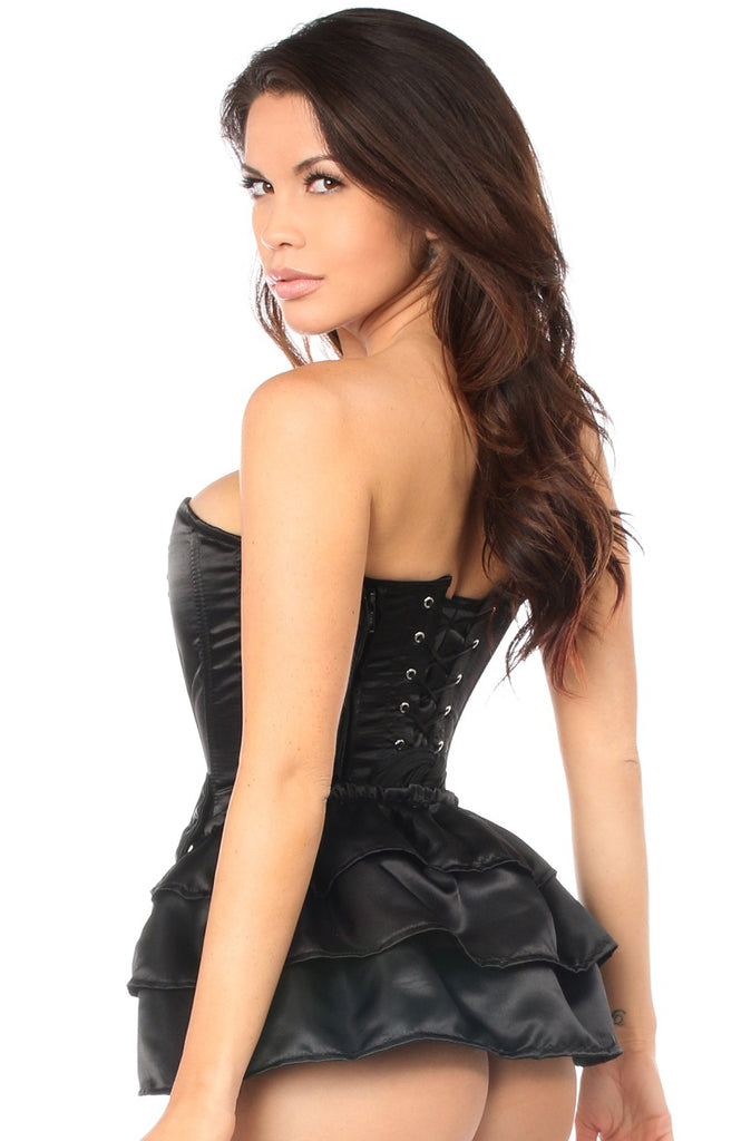 Black Satin Corset w/Removable Snap on Skirt