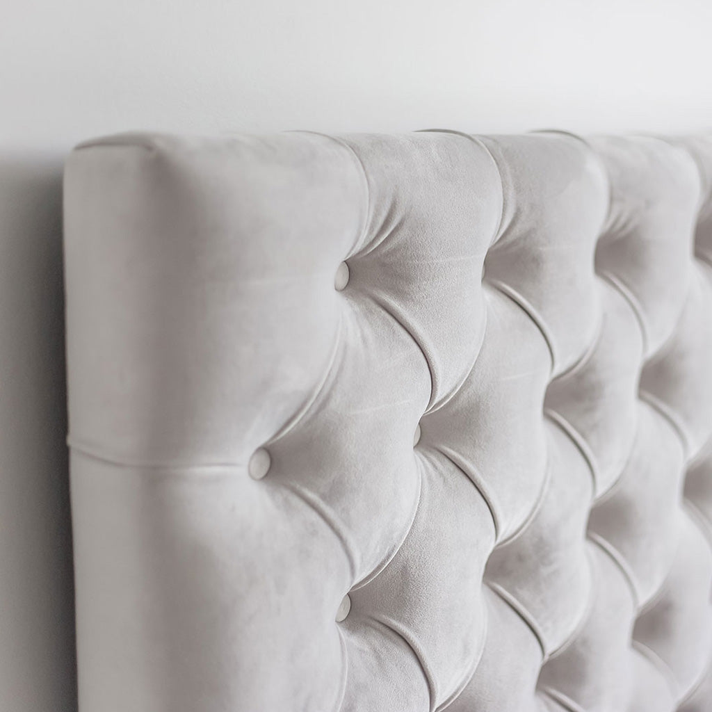Product image of the Jolie Storage Bed by Style In Form. Shown in light grey. View: Closeup of the headboard, fabric and tufting details. Buy NOW online at blueigloo.ca or click for more info.