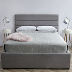 Product image of the Justin Storage Bed. Shown in greige. Front view.