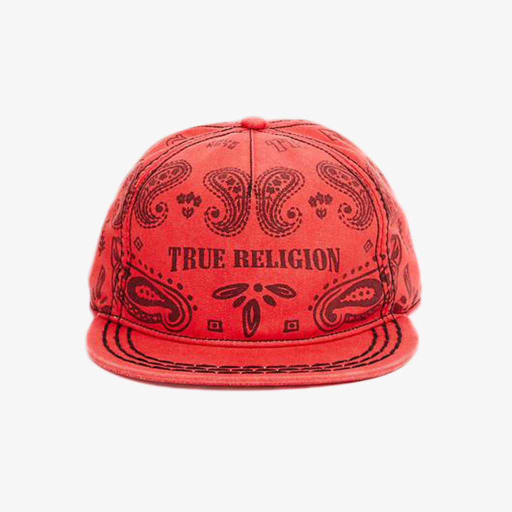 Product image for TRUE RELIGION Bandana Cap, Style: TR2122, Color: True Red, Size: OS, front view.