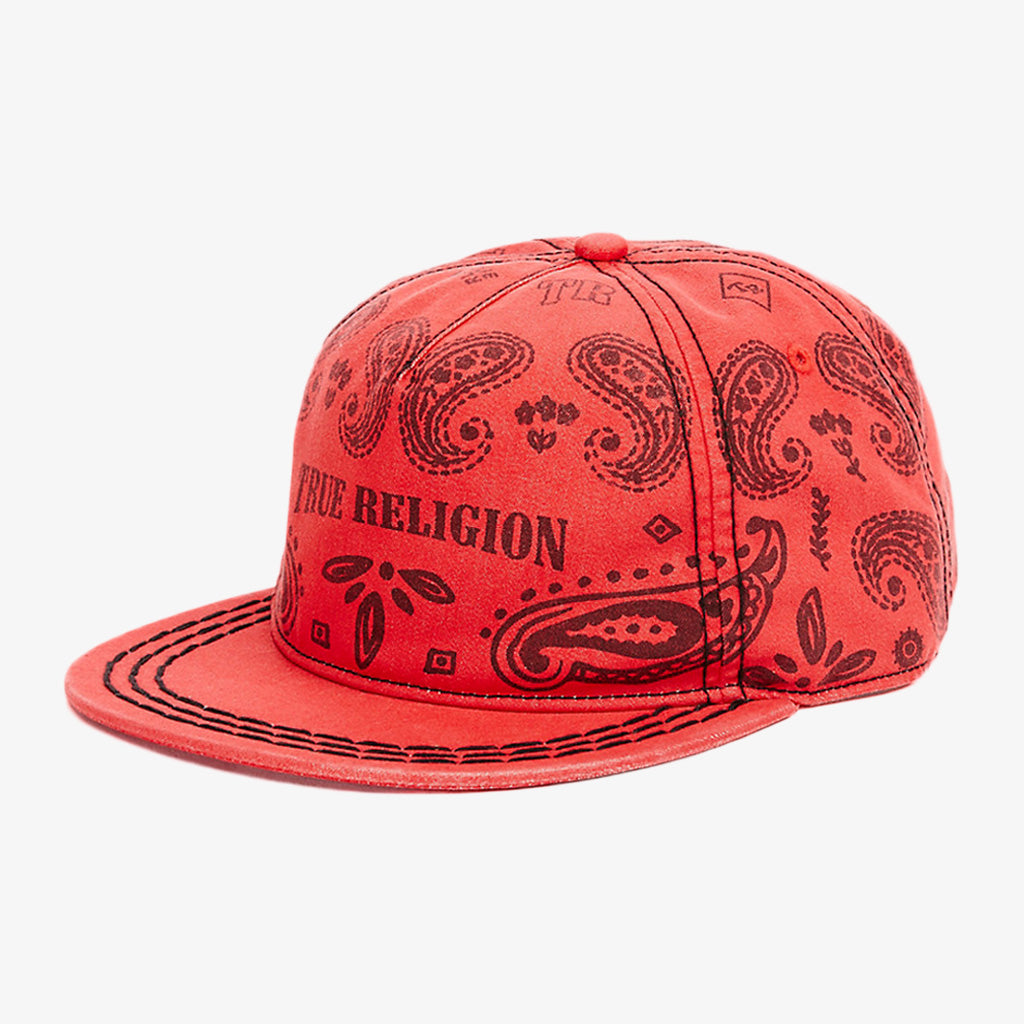 Product image for TRUE RELIGION Bandana Cap, Style: TR2122, Color: True Red, Size: OS, side view.