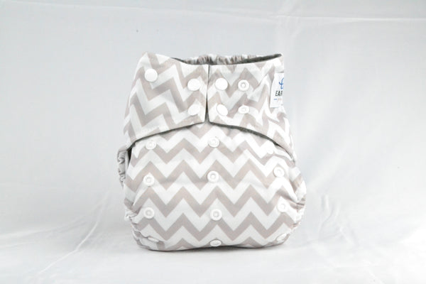 Earthlie Cloth Diaper - Grey Chevron