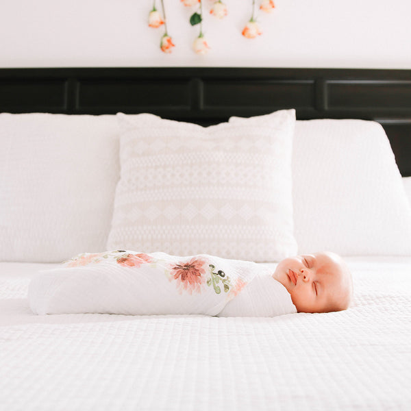 Dahlia Blooms - Organic Swaddle Blanket