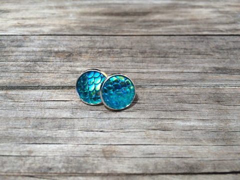 Blue Mermaid Stud Earrings