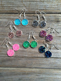 Silver Pink Druzy Dangle Earrings