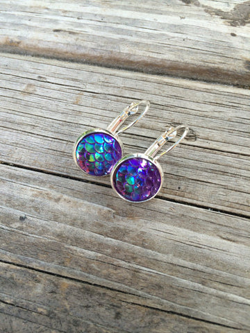 Purple Mermaid Leverback Earrings