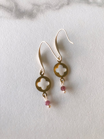 Quatrefoil Tourmaline Pink Earrings