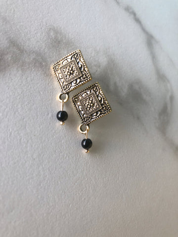 Art Deco Onyx Earrings
