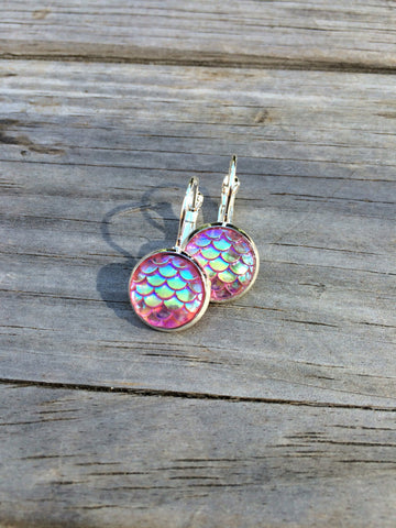 Pink Mermaid Scale Earrings
