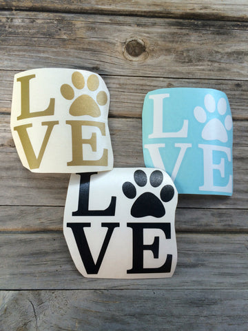 Dog Love Paw Print Decal