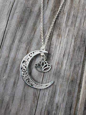 Lotus and Moon charm necklace