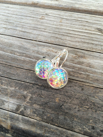 White Mermaid Scale Earrings