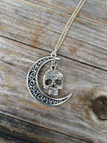 Skull Moon charm necklace