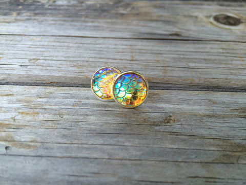 Yellow Mermaid Stud Earrings