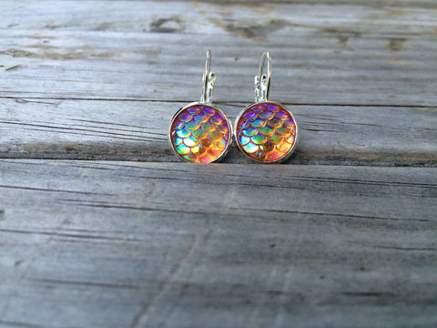 Orange Mermaid Scale Earrings