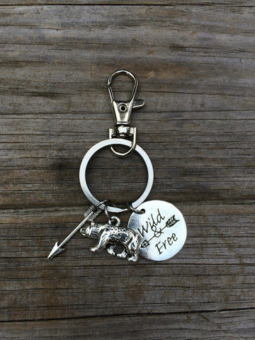 Wild and Free Bear Charm Keychain
