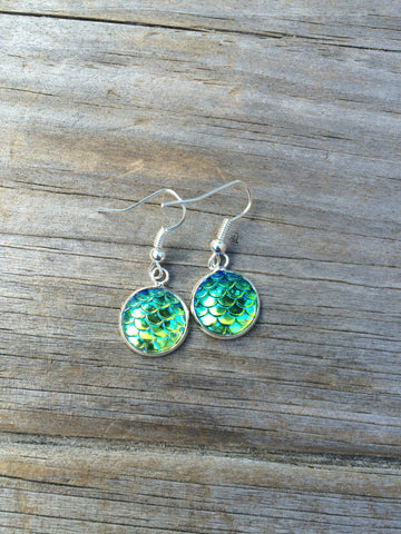 Green Mermaid Scale Earrings