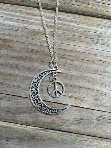 Moon charm with Peace sign necklace