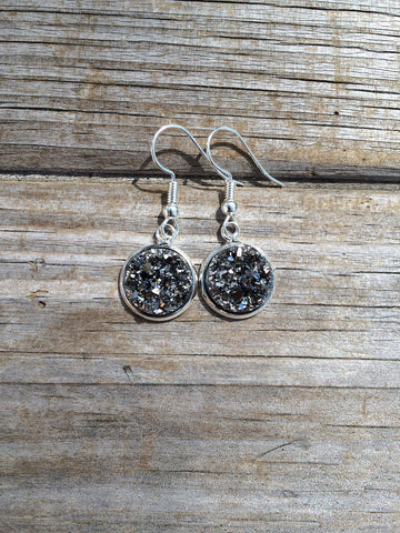 Silver Grey Druzy Dangle earrings