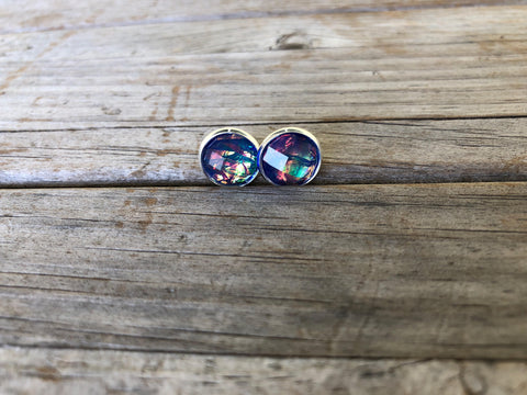 Blue Fire Druzy Stud Earrings
