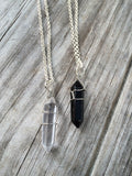 Natural Black Onyx Raw Crystal Wire Wrapped on a Silver Plated Necklace 18 inches