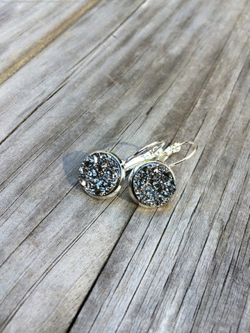 Metallic Silver Glitter Druzy Earrings